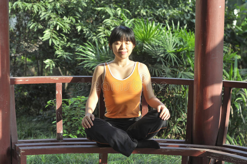 Download Yoga outdoors stock photo. Image of pavilion, chinese - 26633606