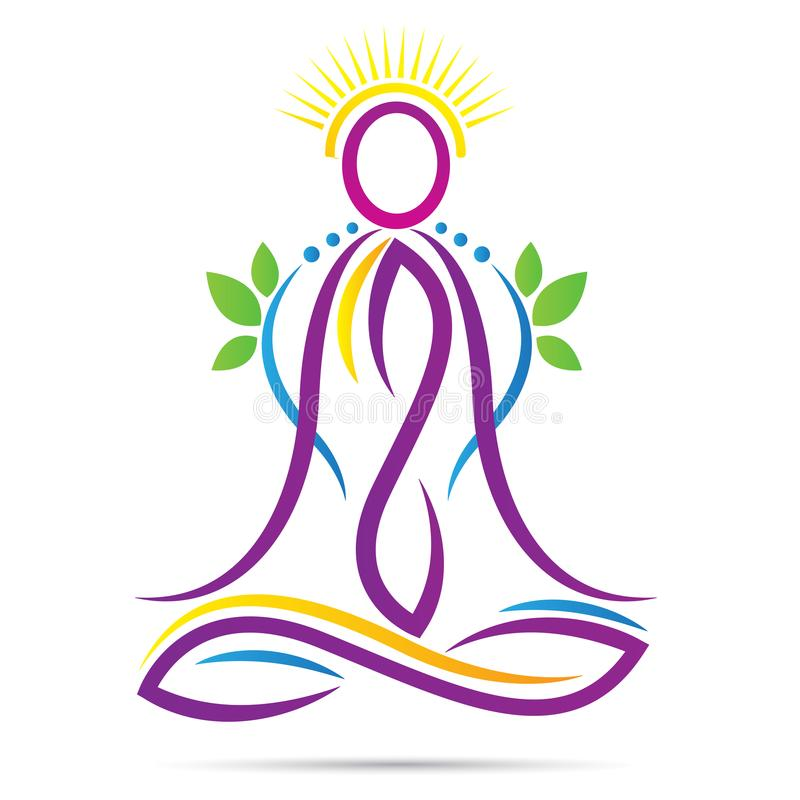 Yoga outline lotus position wellness healthy life logo. Lotus position yoga outline pose for wellness healthy life asana peace concept design royalty free illustration