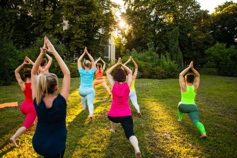 Yoga på en natur royaltyfria foton