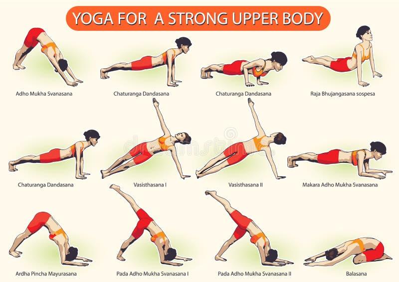 YOGA para el cuerpo superior fuerte ilustración del vector