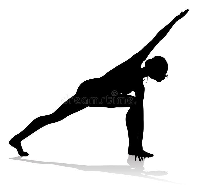 Yoga Pilates-Haltungs-Frauen-Schattenbild lizenzfreie abbildung