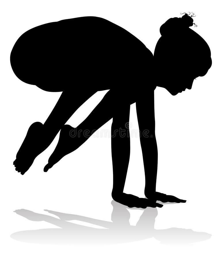 Yoga Pilates-Haltungs-Frauen-Schattenbild stock abbildung