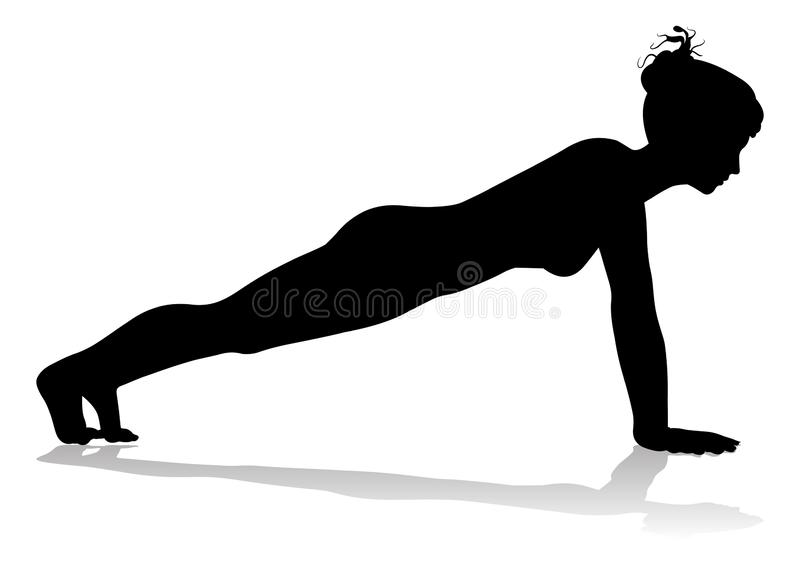 Yoga Pilates-Haltungs-Frauen-Schattenbild vektor abbildung