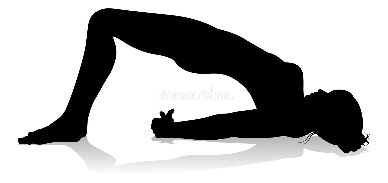 Yoga Pilates poserar kvinnakonturn vektor illustrationer