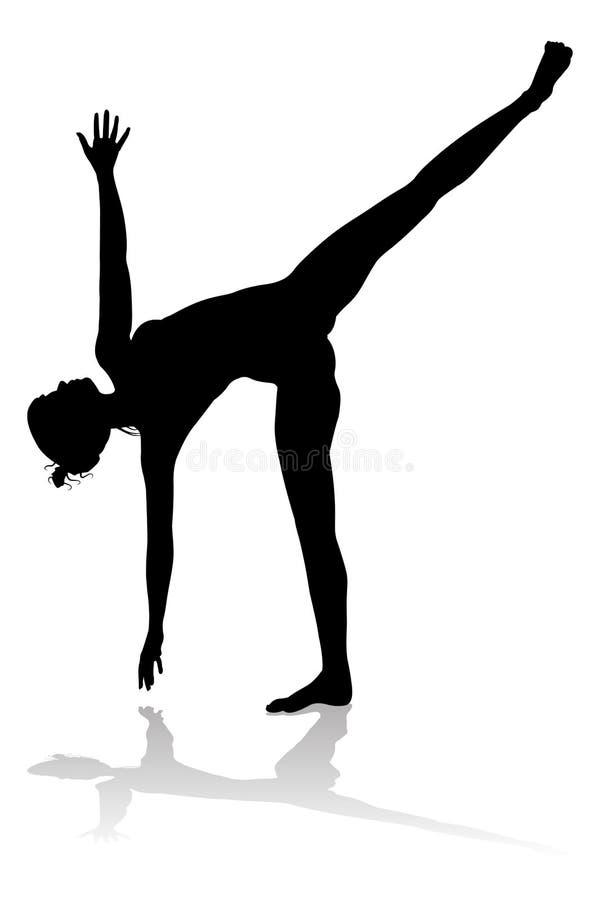 Yoga Pilates poserar kvinnakonturn stock illustrationer