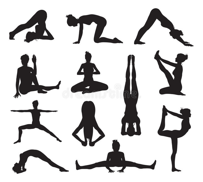 Yoga or pilates poses silhouettes royalty free illustration