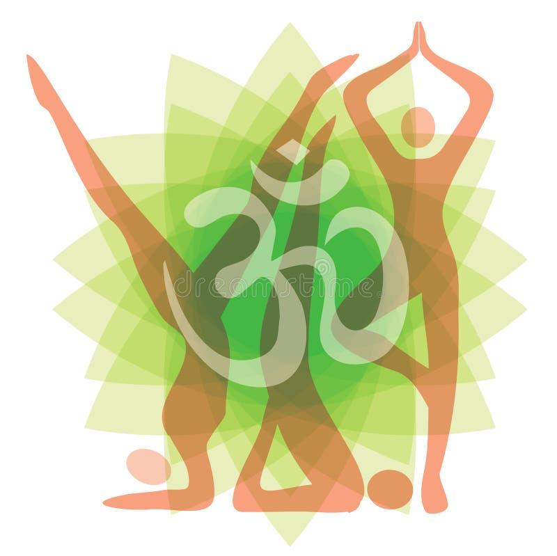 Yoga placerar bakgrund stock illustrationer