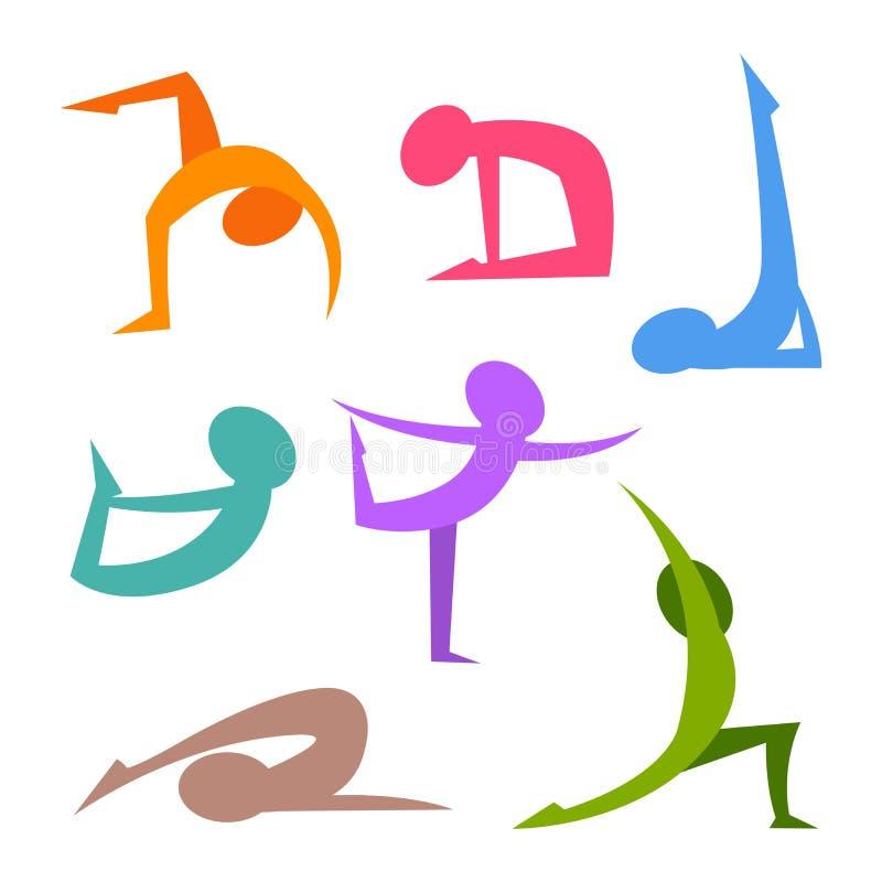 Yoga placerar det enkla konturdiagramet stock illustrationer
