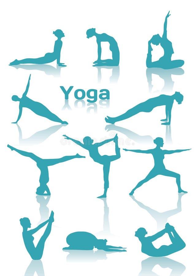 Yoga placerar gröna silhouettes vektor illustrationer