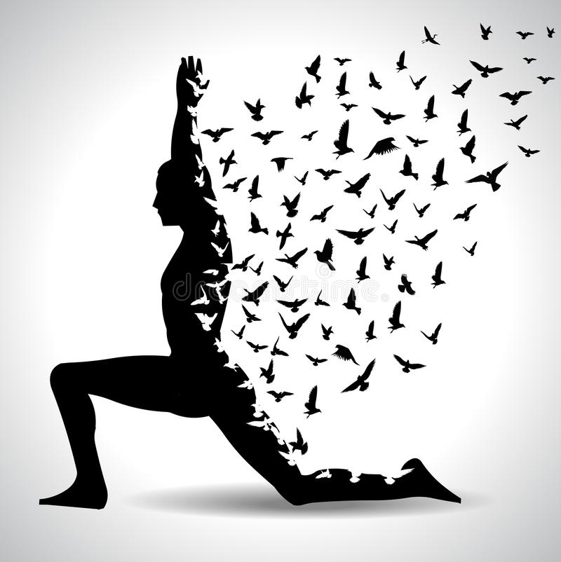 Download yoga pose with birds flying from human body black and white yoga poster stock