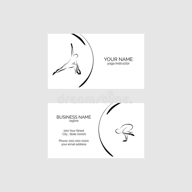 Yoga Pose Business Card Vector Template Stock Vector - Illustration ...