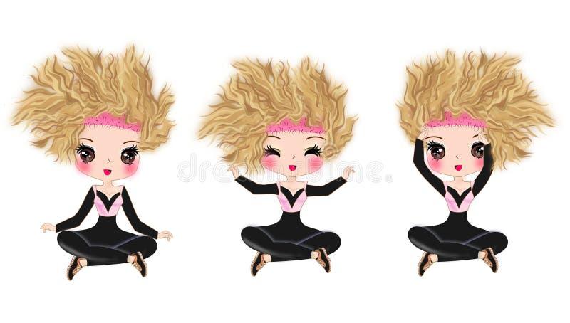 Yoga pose cartoon geïsoleerde illustraties royalty-vrije stock afbeeldingen