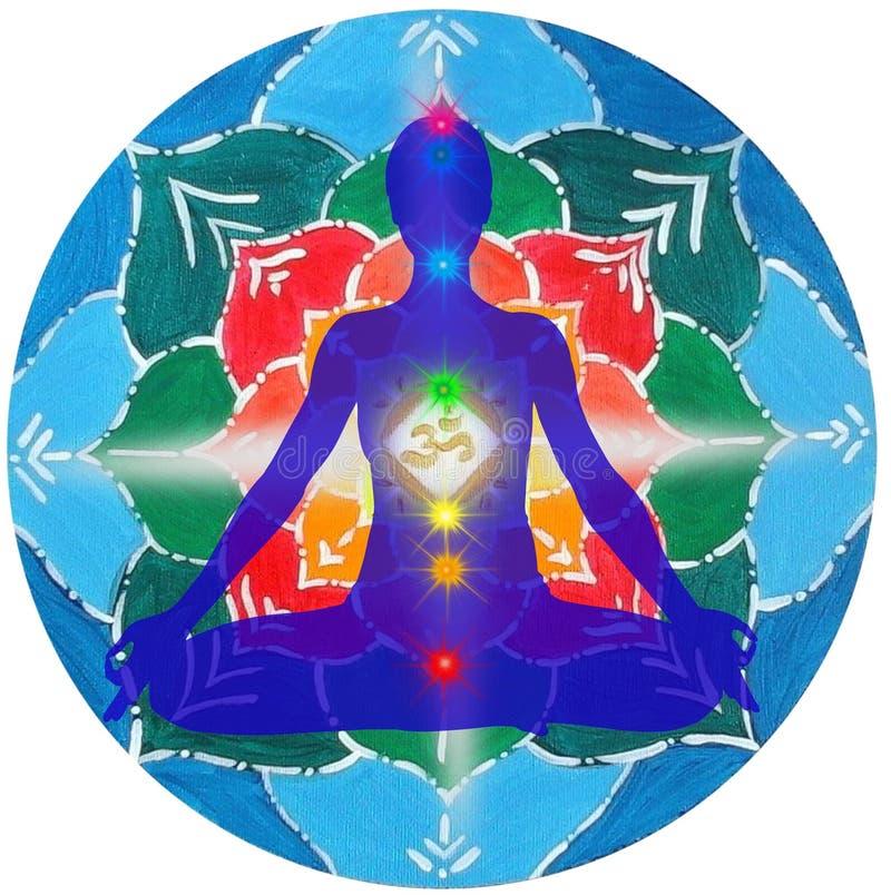Yoga pose and chakra points mandala royalty free illustration