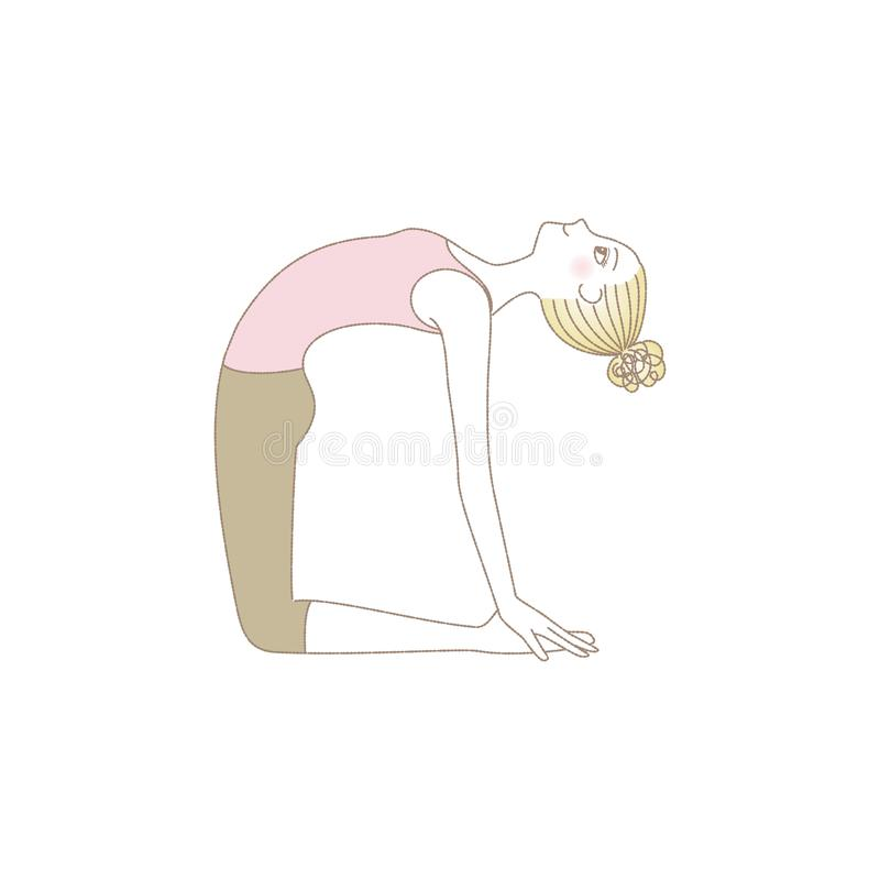 Yoga pose, woman in Camel Pose vector illustration