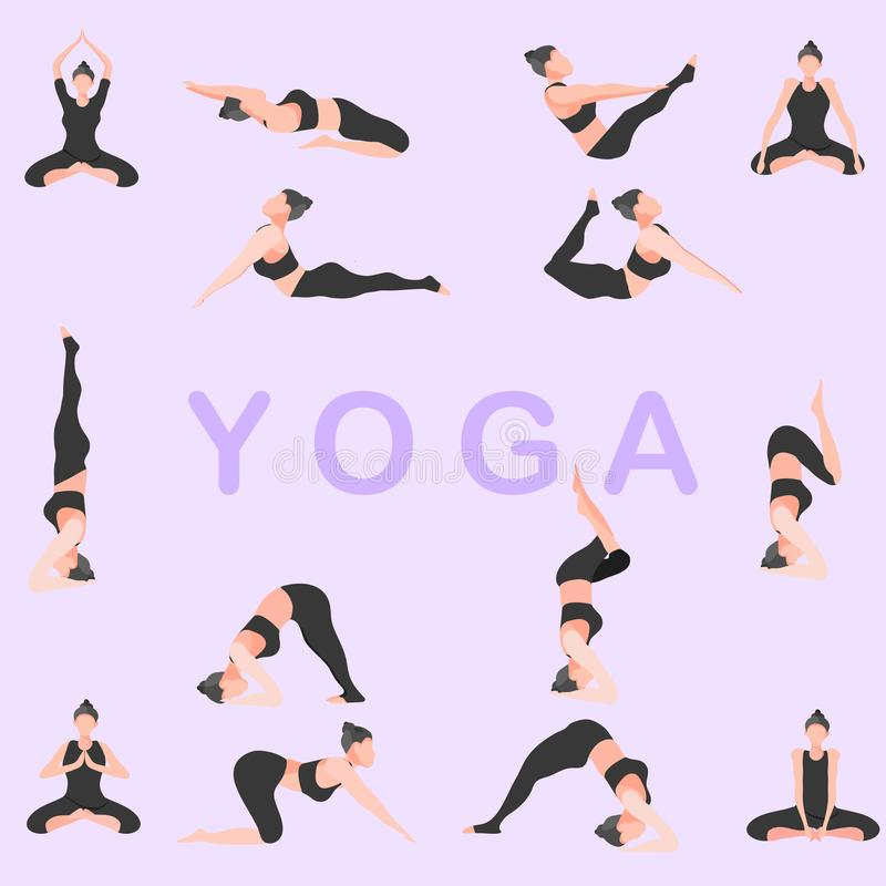 Yoga pose fitness girl gym vector illustration eps10 vector illustration