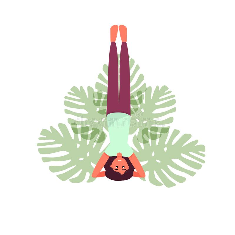 Yoga pose vector illustration. Girl doing yoga. Yoga woman. Lotus. stock illustration