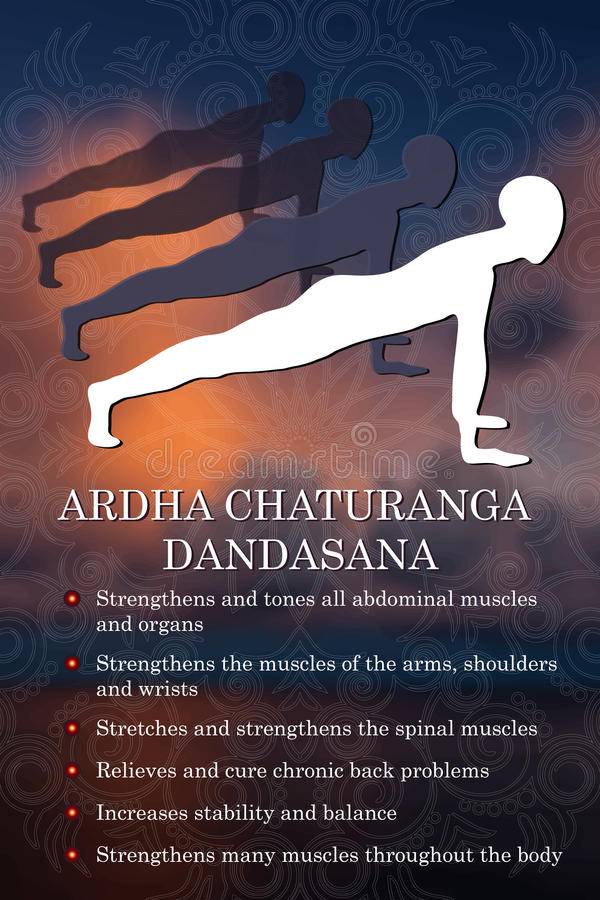 Yoga pose infographics, benefits of practice. Ardha Chaturanga Dandasana royalty free illustration