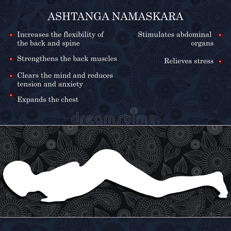 Yoga pose infographics, benefits of practice. Ashtanga Namaskara vector illustration