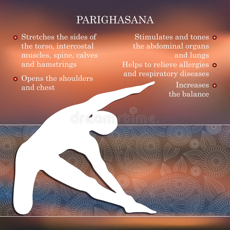 Yoga pose infographics, benefits of practice. Parighasana royalty free illustration