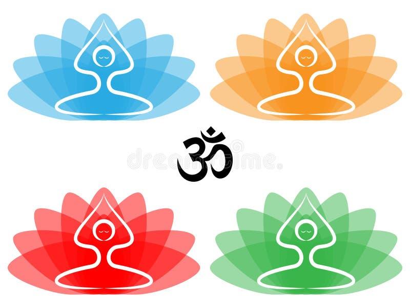 Yoga Pose with Lotus royalty free illustration