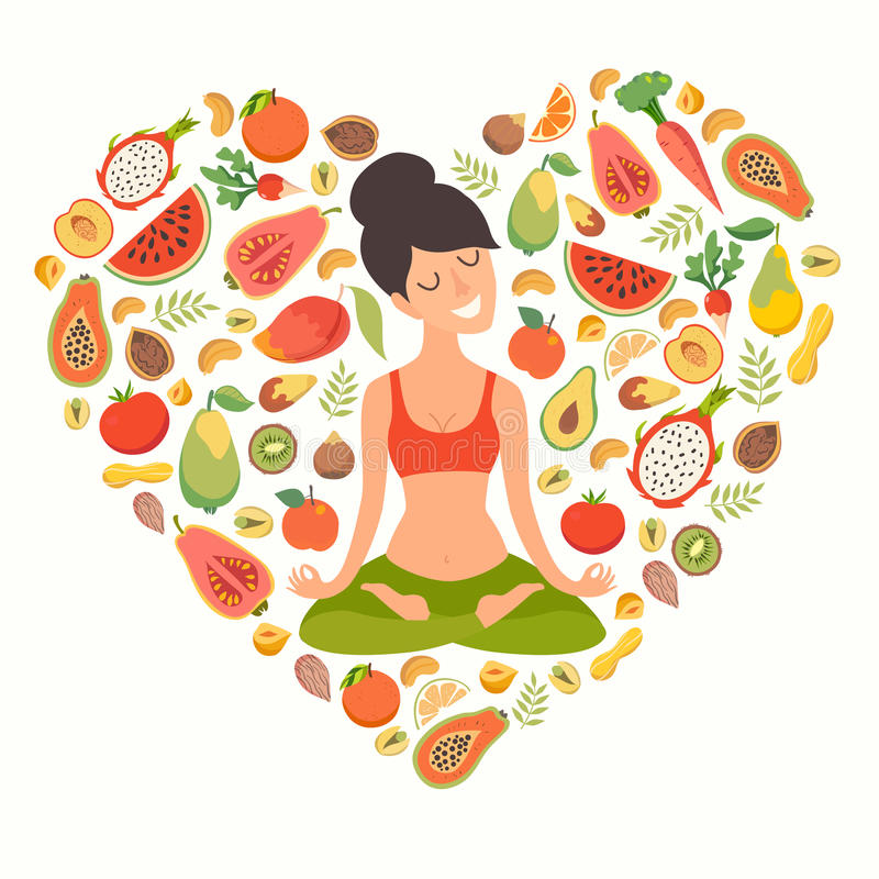 Yoga pose, lotus position. Beautiful girl in the lotus position. Nutrition concept. Healthy natural organic food. Fruit pattern isolated on white background stock illustration