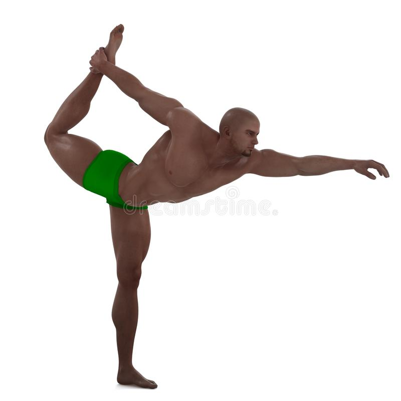 Yoga pose. A male model in a pose royalty free illustration