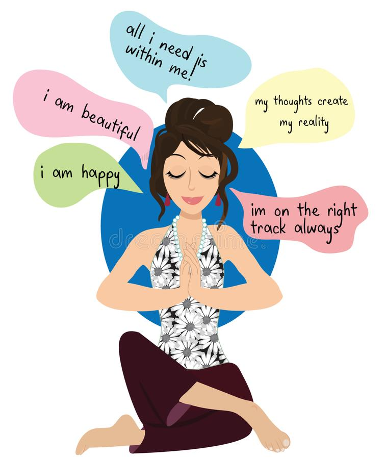 Yoga Pose Meditation illustration yoga girl stock photo