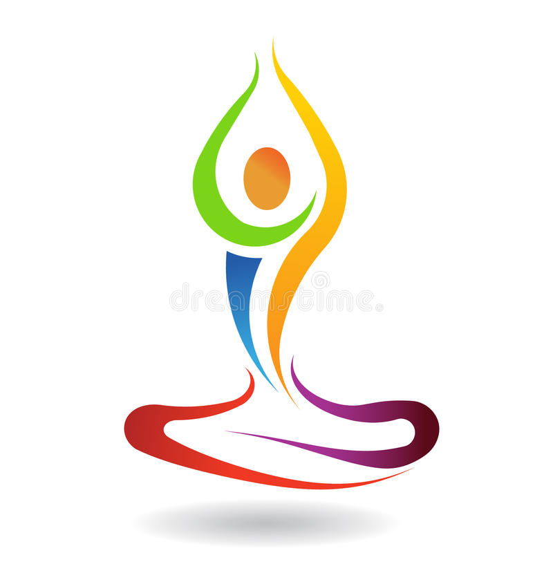Yoga pose peace. Yoga mental peace pose in chakra colors