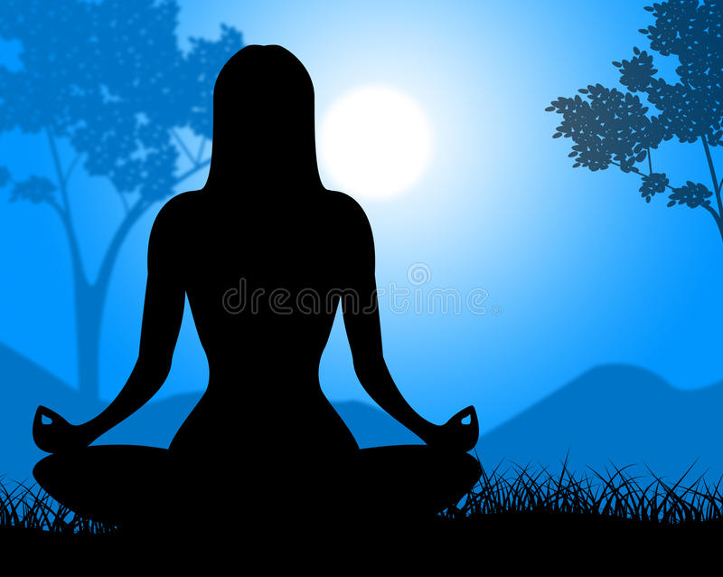 Yoga Pose Shows Relaxing Spirituality And Calm vector illustration
