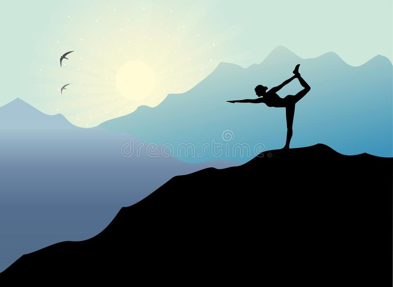 Download Yoga Pose At Sunset Background Stock Vector