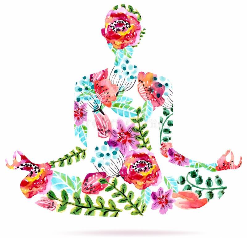 Yoga pose, watercolor bright floral illustration stock illustration