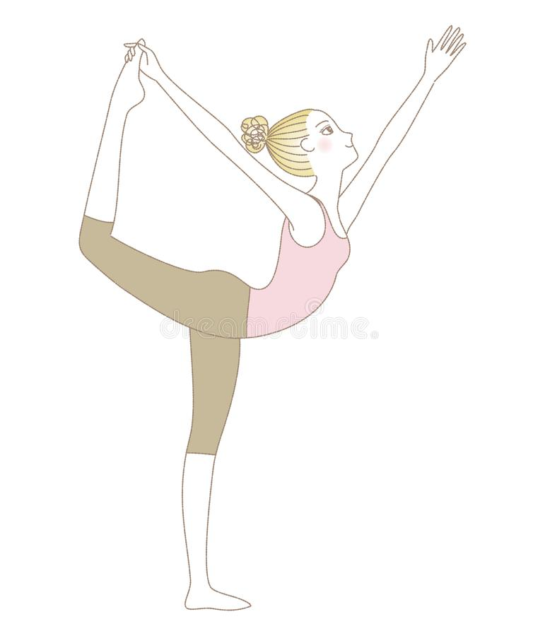 Yoga pose, woman in Lord of the Dance Pose vector illustration