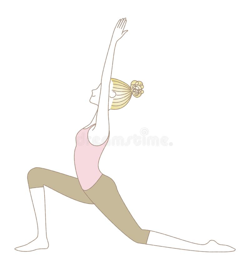 Yoga pose, woman in Low Lunge vector illustration