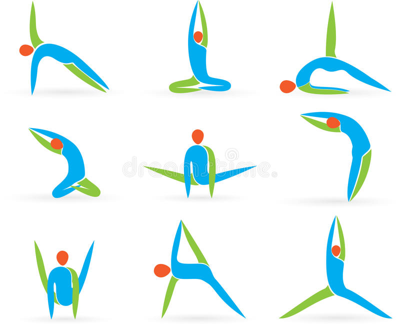 Yoga poserar vektor illustrationer