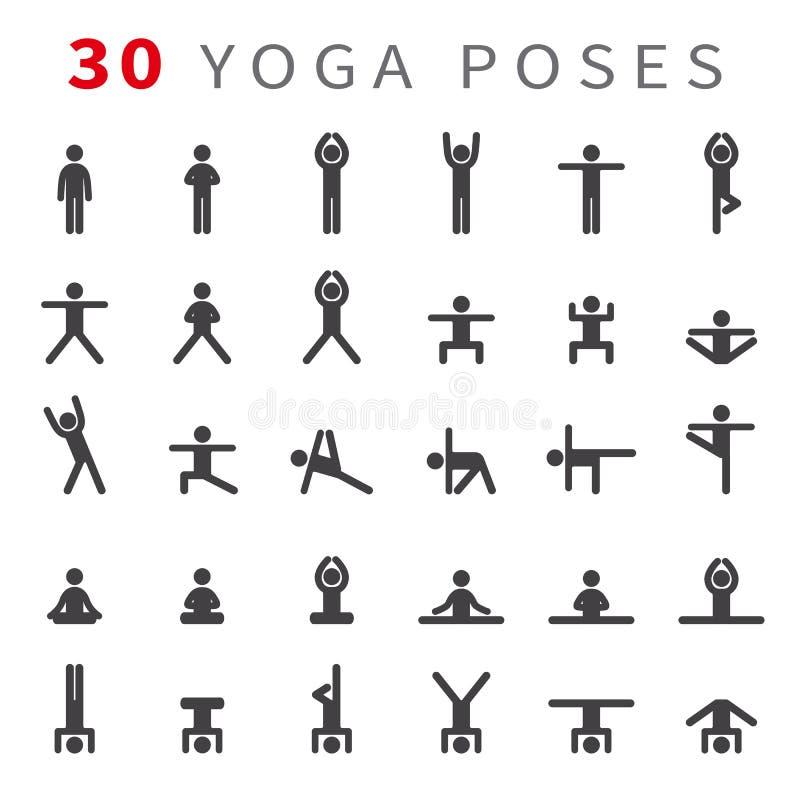 Yoga poserar asanassymbolsuppsättningen royaltyfri illustrationer