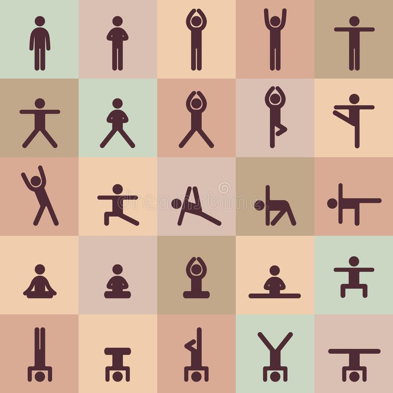 Yoga poserar asanassymbolsuppsättningen klar vektor f?r nedladdningillustrationbild För att brännmärka för logoyoga Yogafolkinfog vektor illustrationer
