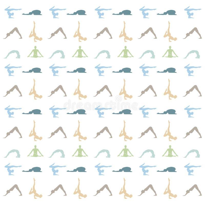 Yoga poserar eller asanabakgrundsmeditationen och lugnbakgrund stock illustrationer