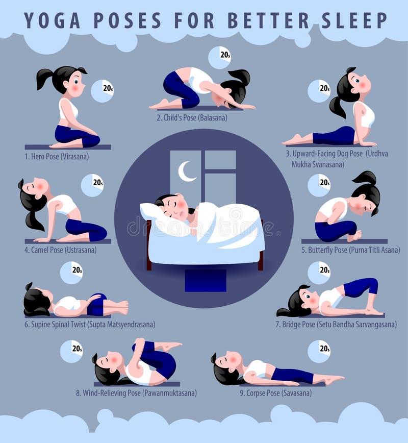 Yoga poserar för bättre sömn vektor illustrationer