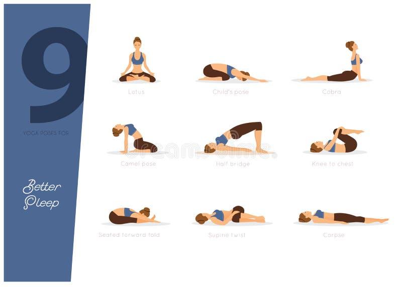 yoga 9 poserar för bättre sömn royaltyfri illustrationer
