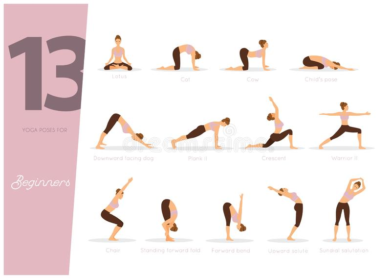 Yoga 13 poserar för nybörjare stock illustrationer