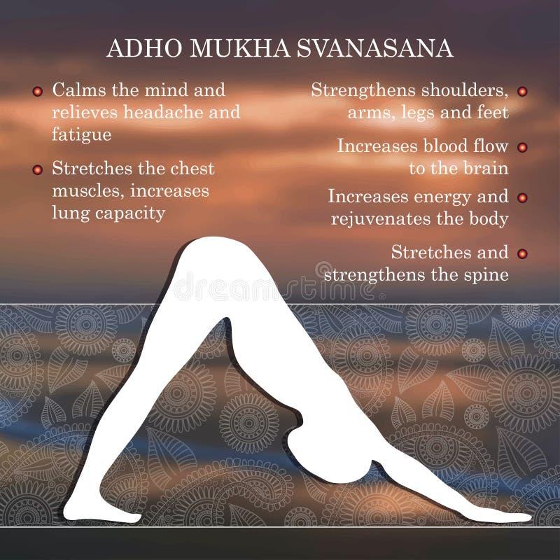 Yoga poserar infographicsen, fördelar av övning stock illustrationer