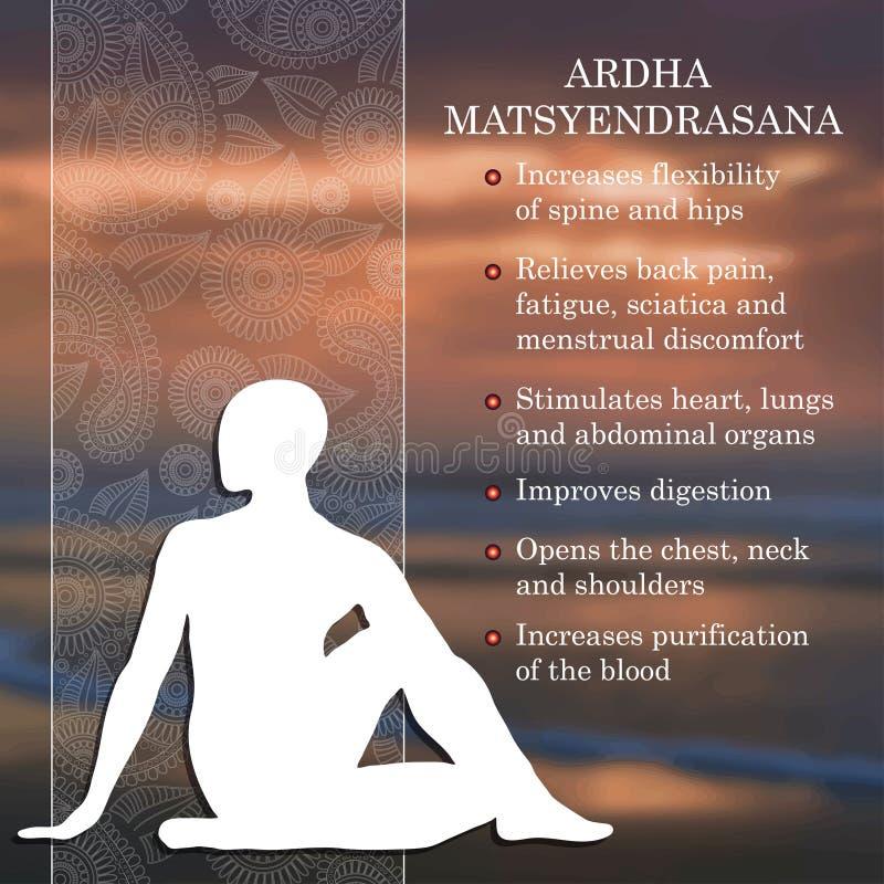 Yoga poserar infographicsen, fördelar av övning royaltyfri illustrationer