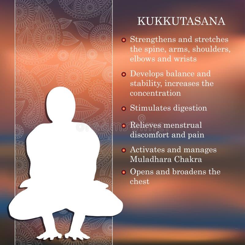Yoga poserar infographicsen, fördelar av övning vektor illustrationer