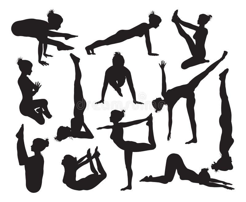 Yoga poserar konturer royaltyfri illustrationer