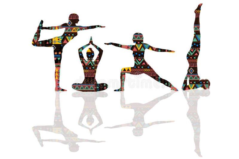 Yoga poserar konturer med den etniska motivmodellen royaltyfri illustrationer
