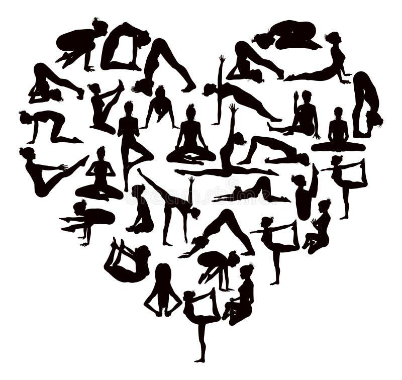 Yoga poserar konturhjärta vektor illustrationer
