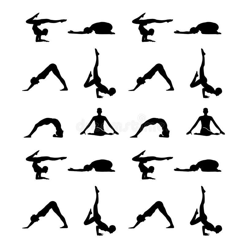 Yoga poserar konturn royaltyfri illustrationer