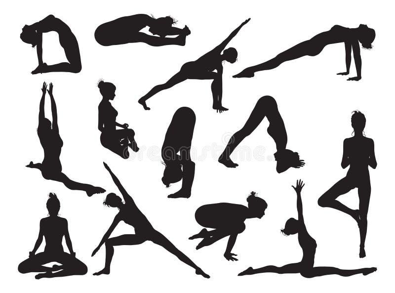 Yoga poserar kvinnakonturer royaltyfri illustrationer