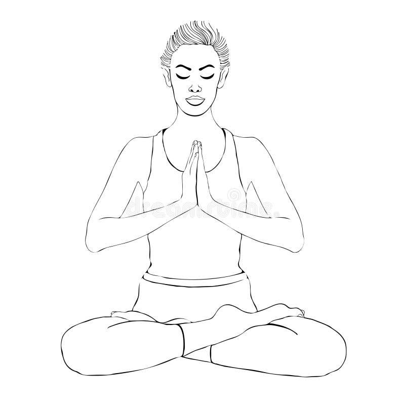 Yoga poserar, kvinnan som mediterar i en lotusblomma, poserar, ståenden för vektorfärgläggningteckningen Kors för sammanträde för stock illustrationer
