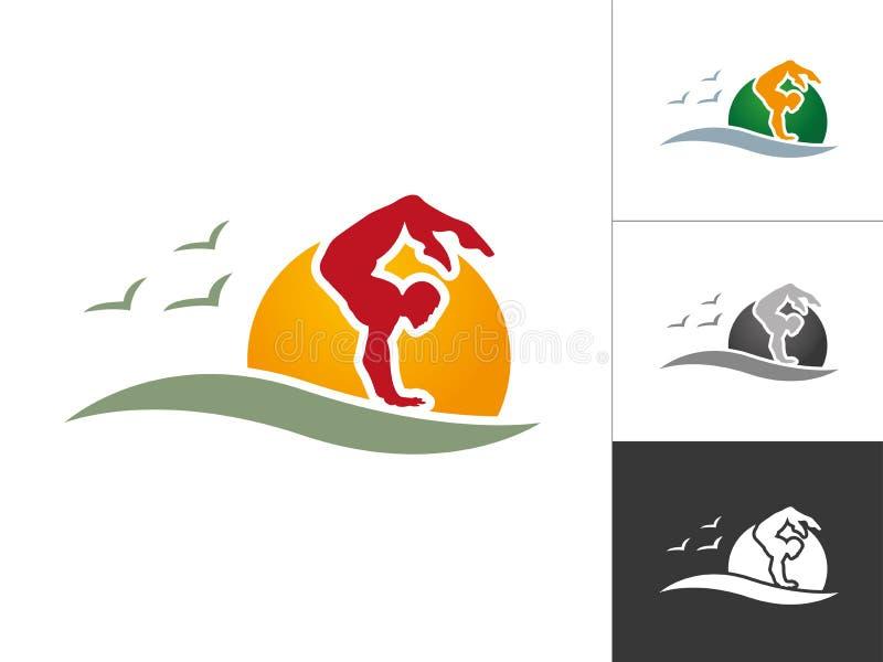 Yoga poserar logo för klubba för mankonturLogo Designs Athletics Logo Template sportar royaltyfri illustrationer